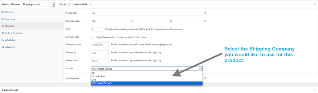 You can set the shipping method on the Edit Product page