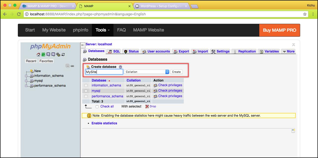 Installing WordPress | Creating database
