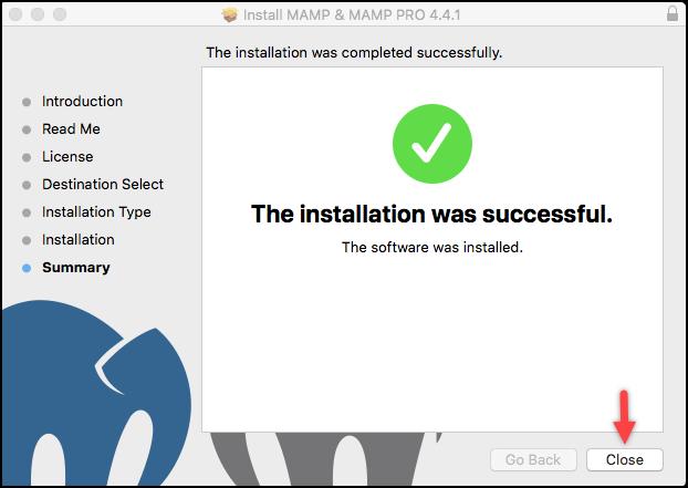 Installing WordPress | MAMP installation complete