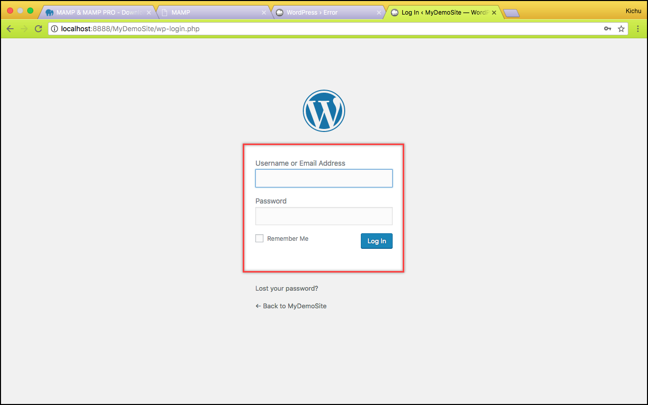 Installing WordPress on Mac | WordPress login page