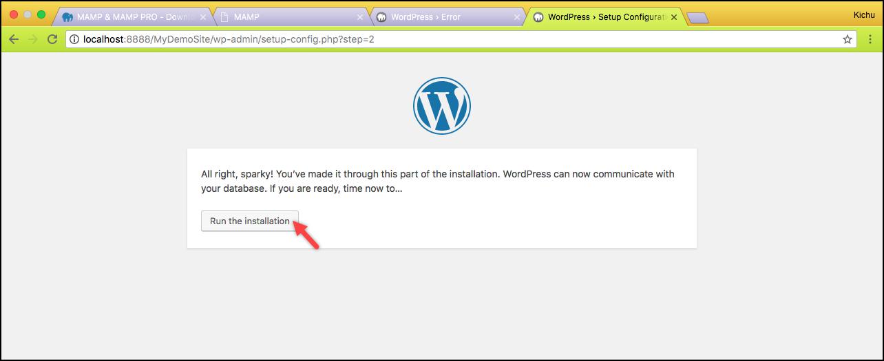 Installing WordPress on Mac | Run the installation