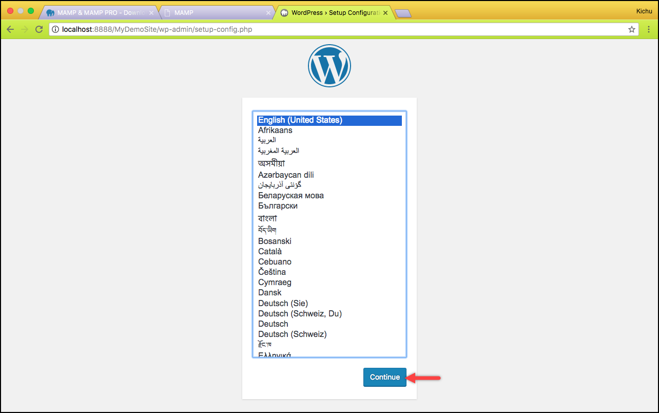 Installing WordPress on Mac | Selecting the desired language