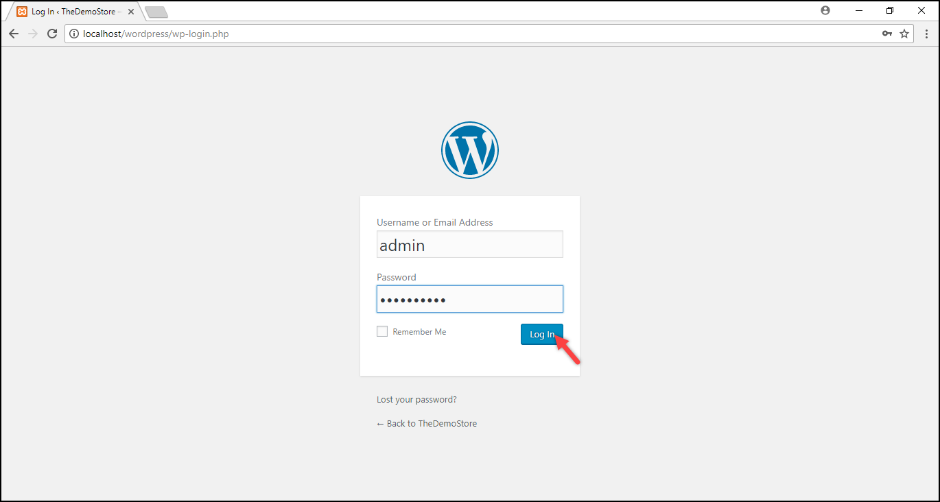 Installing WordPress on Windows | WordPress login page