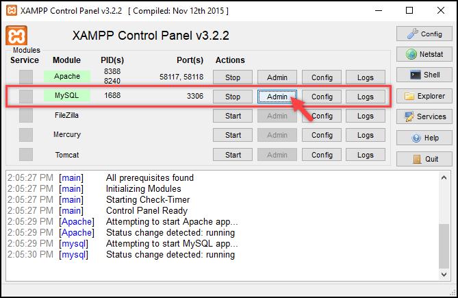 Installing WordPress | Opening phpMyAdmin