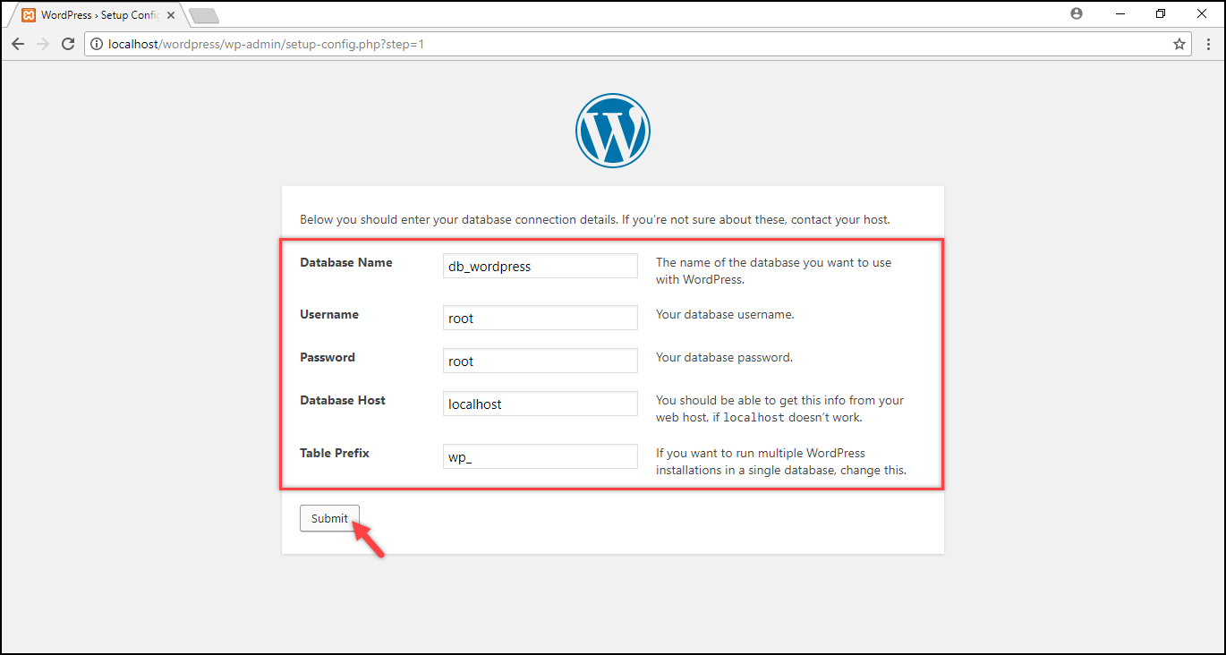 Installing WordPress on Windows | Database information submitted