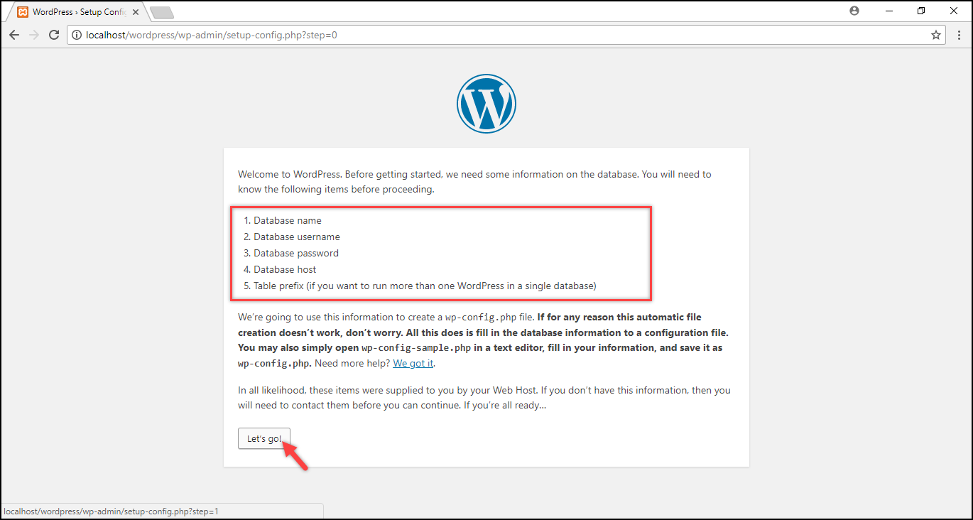 Installing WordPress on Windows | Required database information
