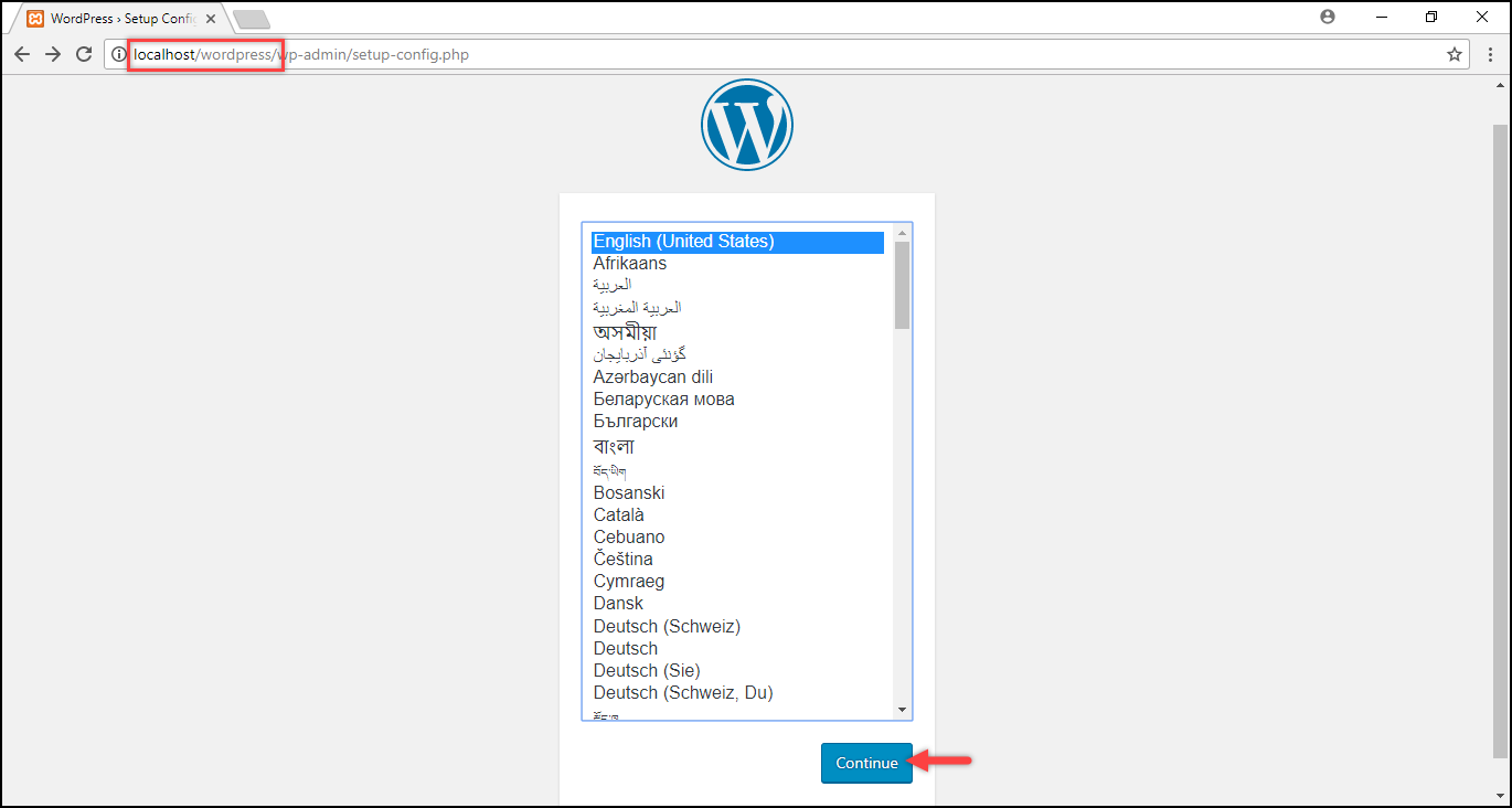 Installing WordPress on Windows | Selecting desired language