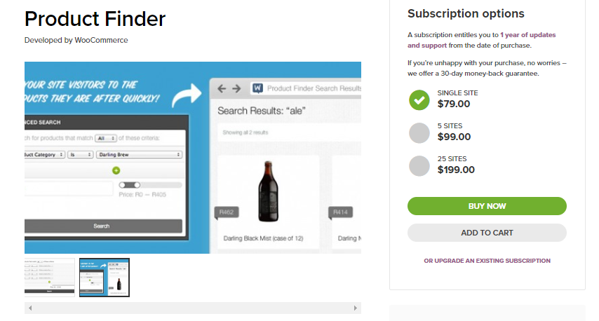 Screenshot of WooCommerce Product finder extension