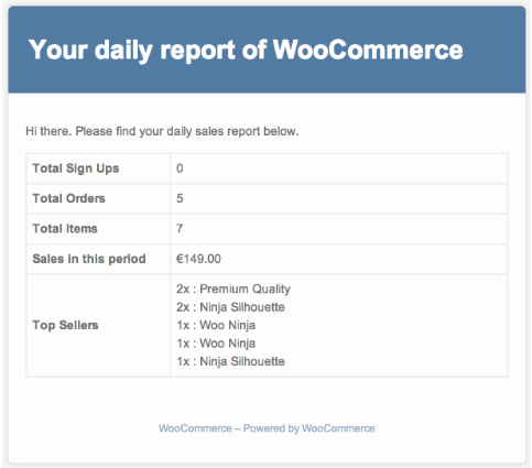 The sales report email which makes WooCommerce reporting easy