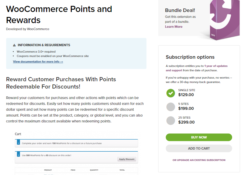 screenshot of WooCommerce points and rewards extension for the WooCommerce pricing strategies article