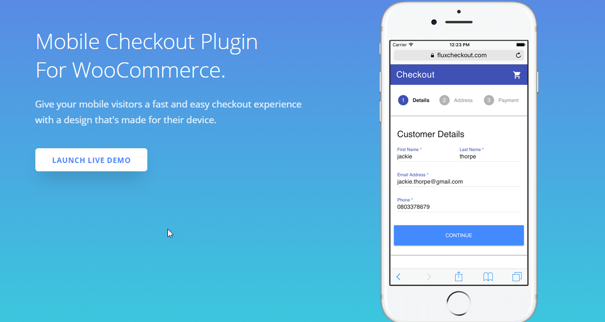 screenshot of Flux checkout plugin