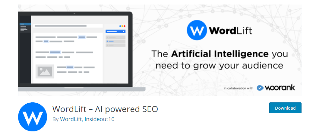 screenshot of WordLift, WordPress Plugin Artificial Intelligence