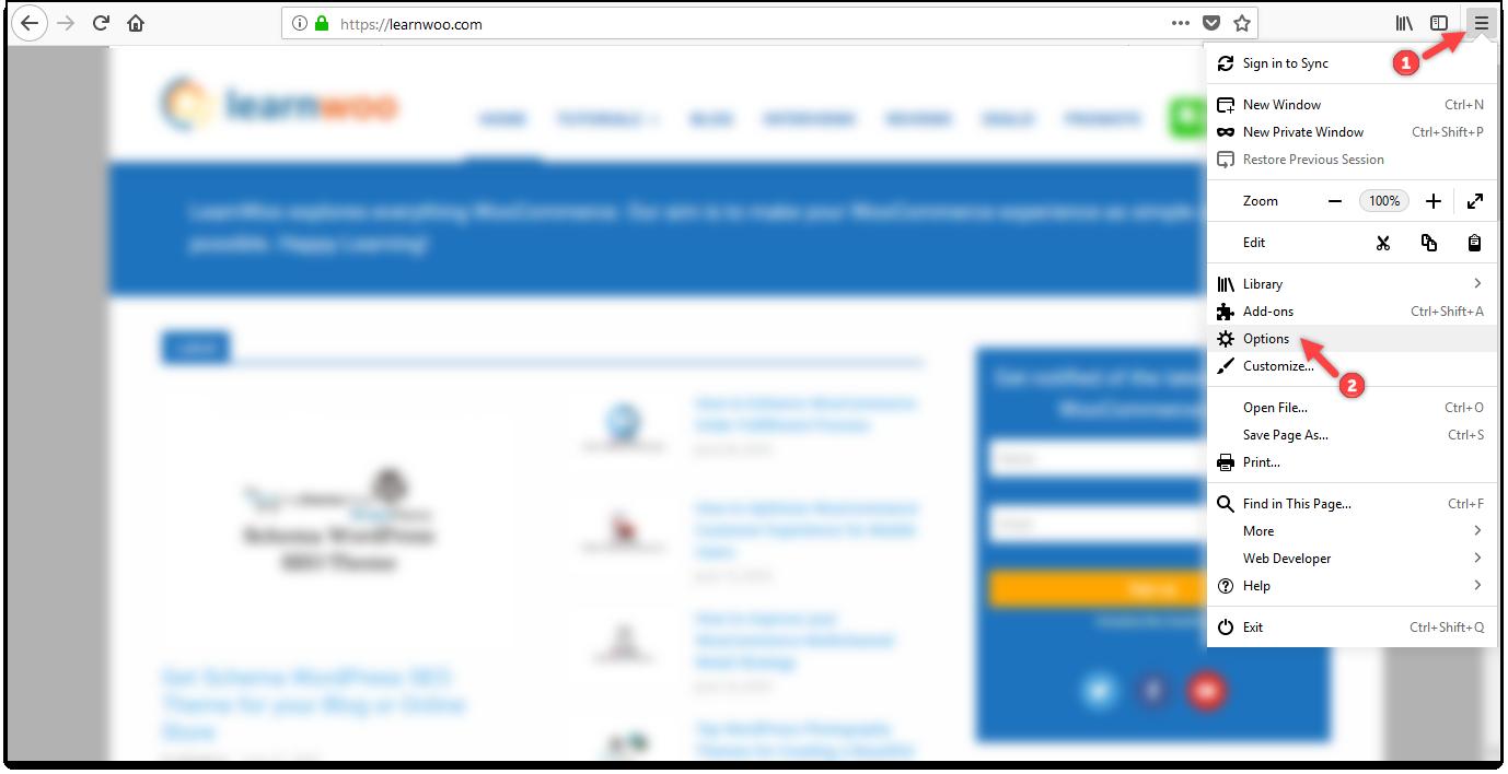 WordPress Cache | Mozilla Firefox - Menu Options