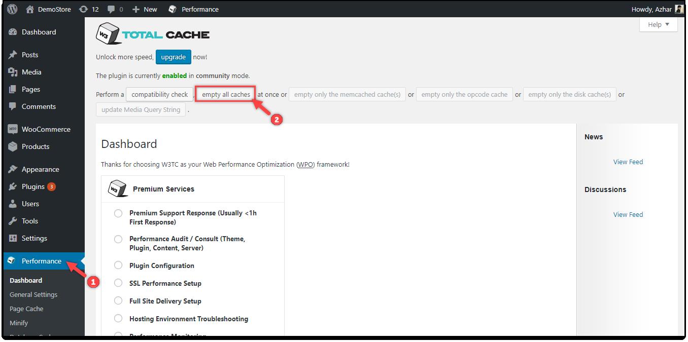 WordPress Cache | W3 Total Cache - Empty All Caches