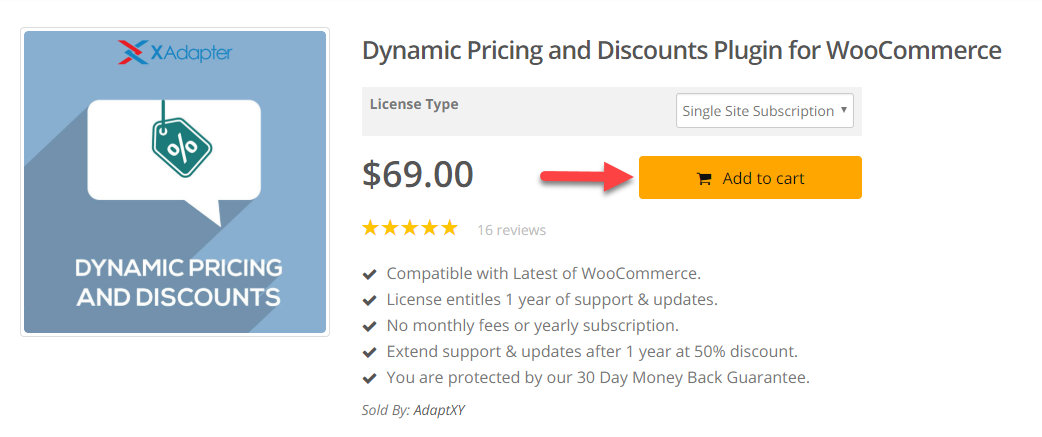 Screenshot of XAdapter product page to emphasize on WooComerce store design