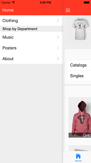 screenshot of the navigation menu options for Appmaker WooCommerce mobile app builder