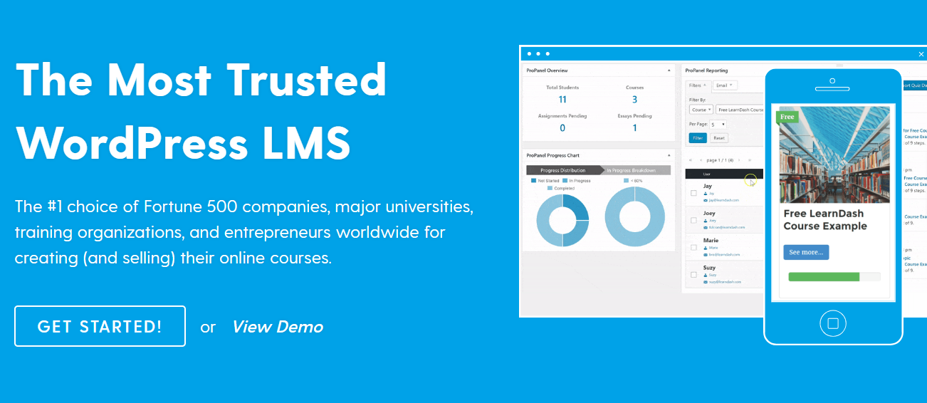 screenshot of LearnDash, WordPress Learning management system
