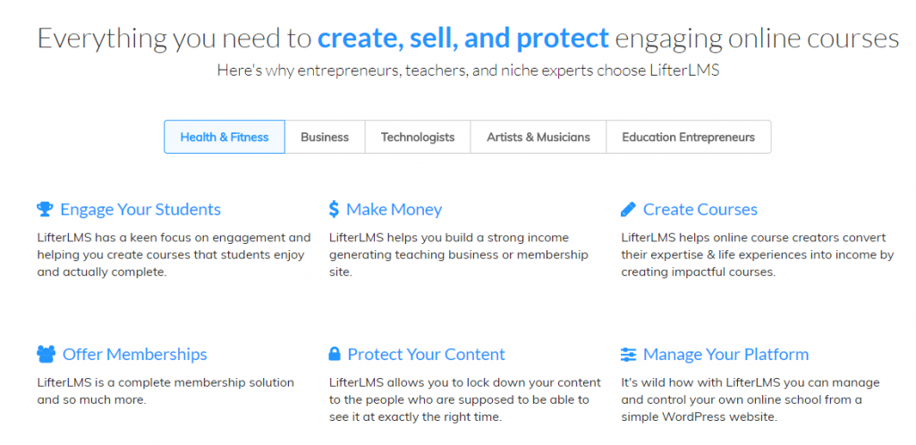 screenshot of LifterLMS, WordPress Learning management system