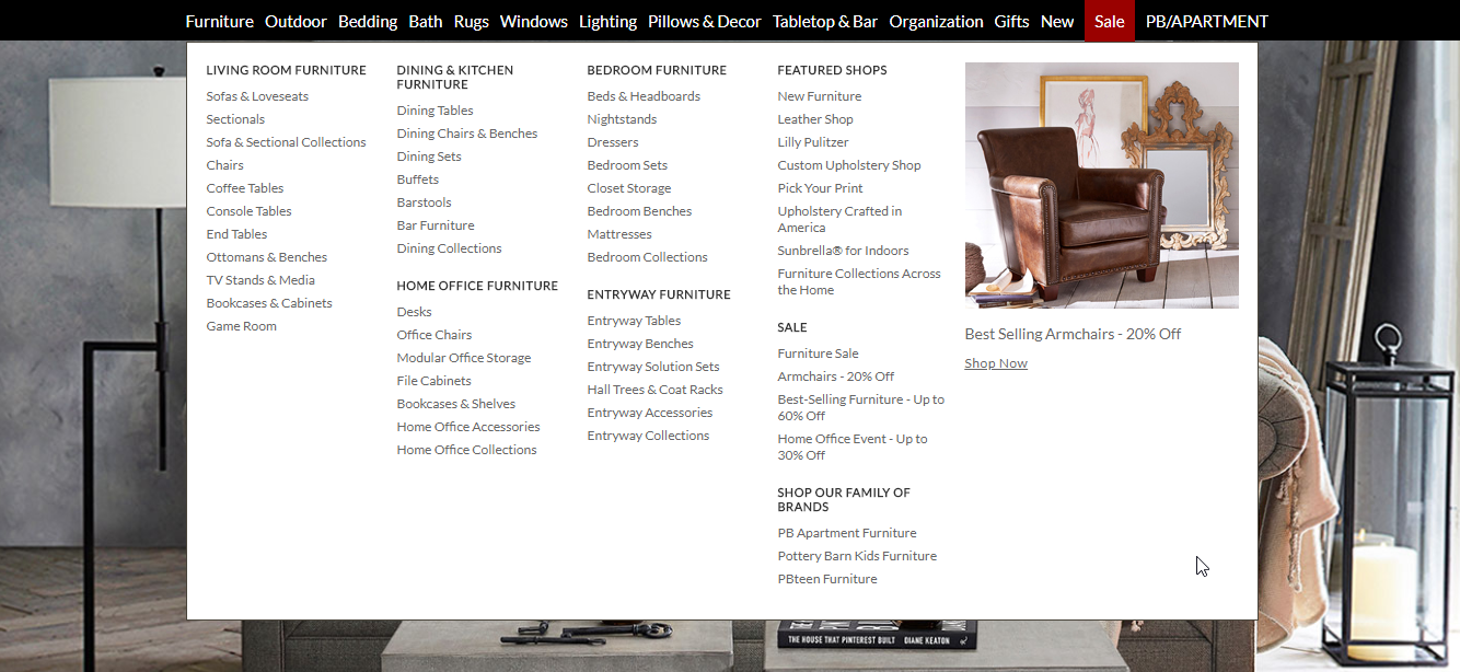 screenshot of Pottery Barn to help improve navigation