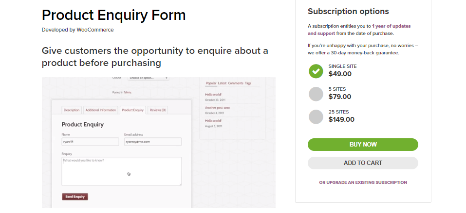screenshot of product enquiry form plugin