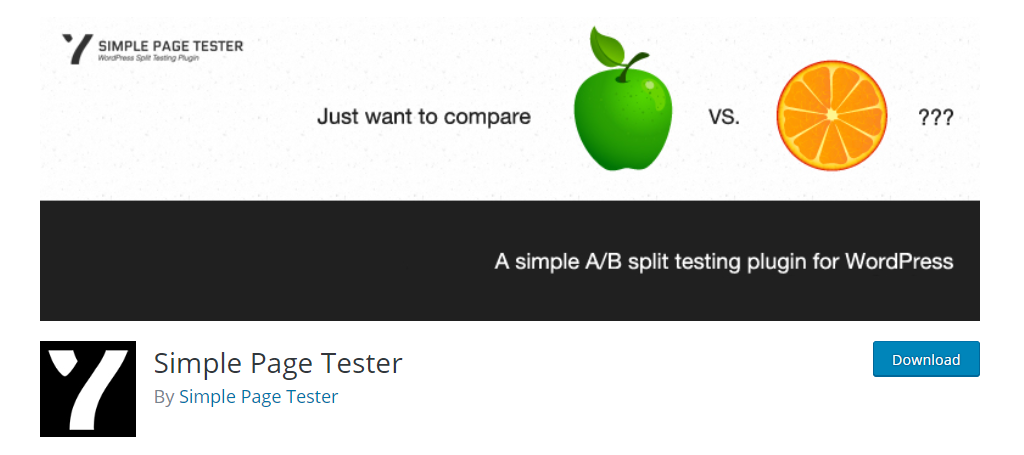 screenshot of simple page tester for A/B testing