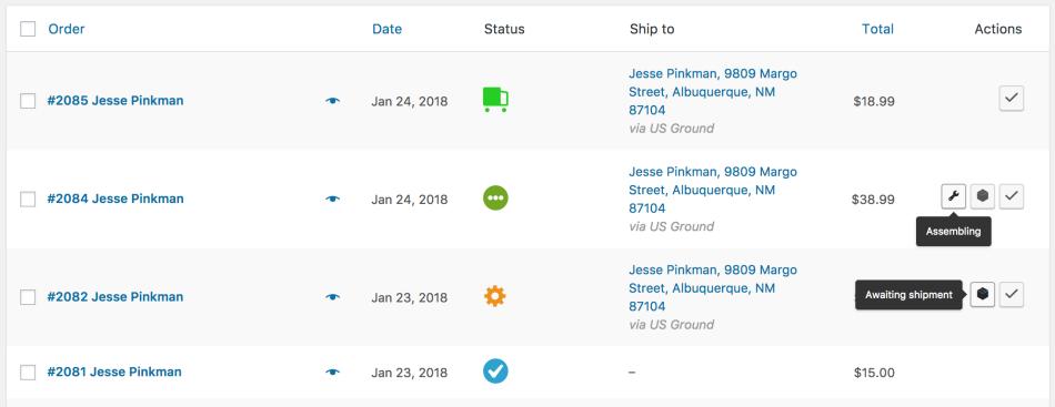 screenshot of WooCommerce order status manager plugin
