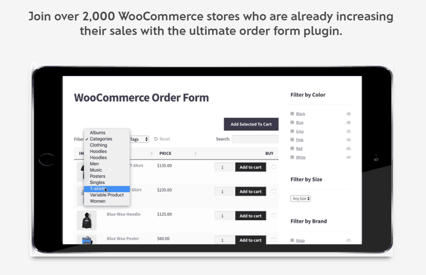 screenshot of WooCommerce Product Table plugin