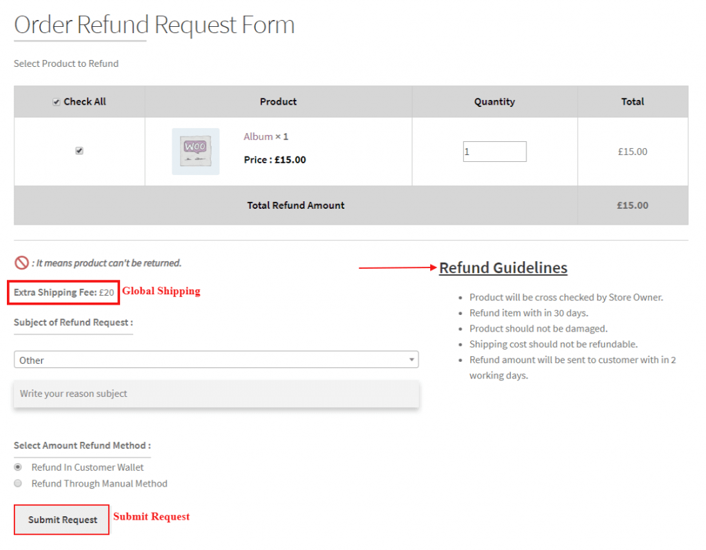 WooCommerce Returns and Refunds