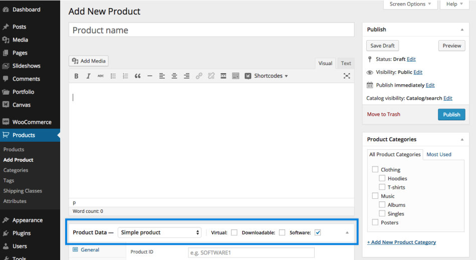 screenshot of Software add-on for unique software products WooCommerce