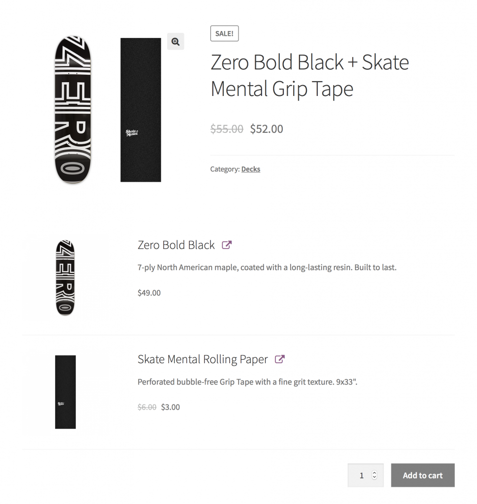 screenshot of WooCommerce product bundles