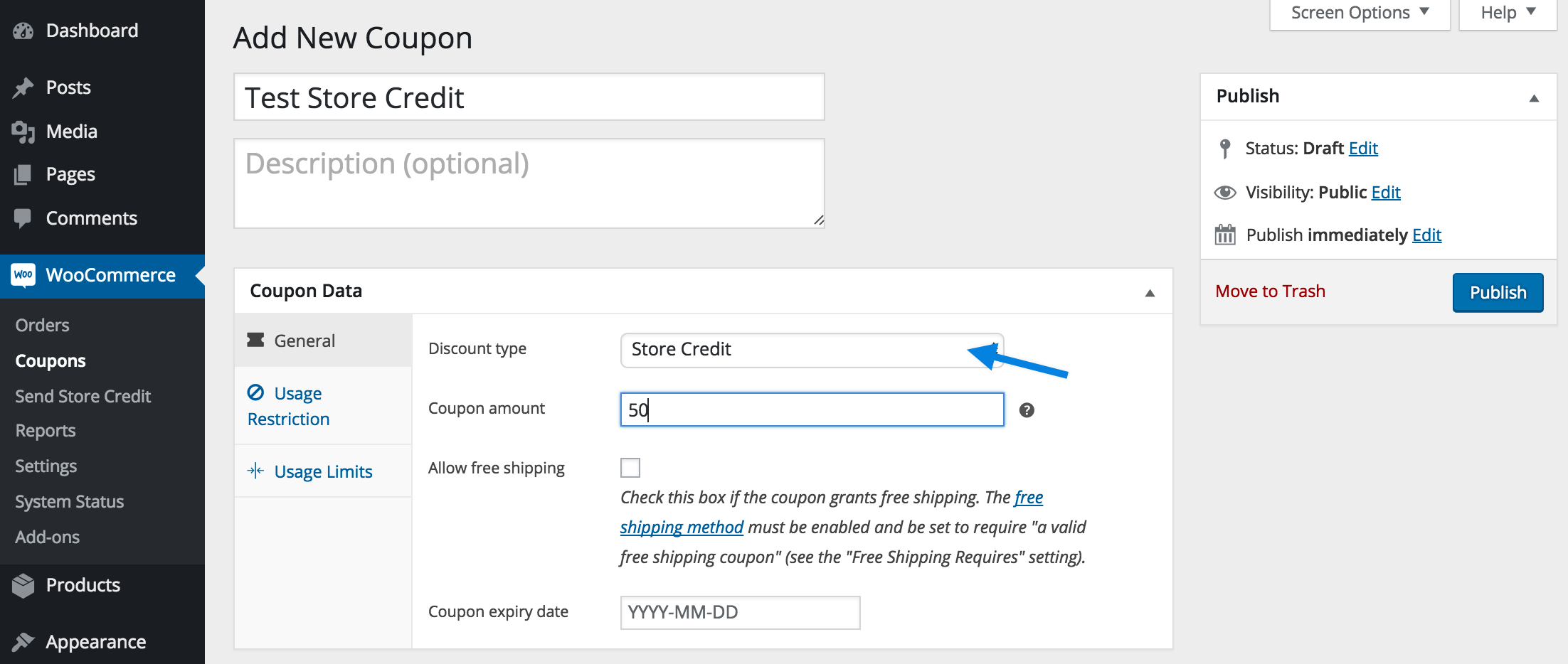 screenshot of Store Credit extension for WooCommerce store promotion article