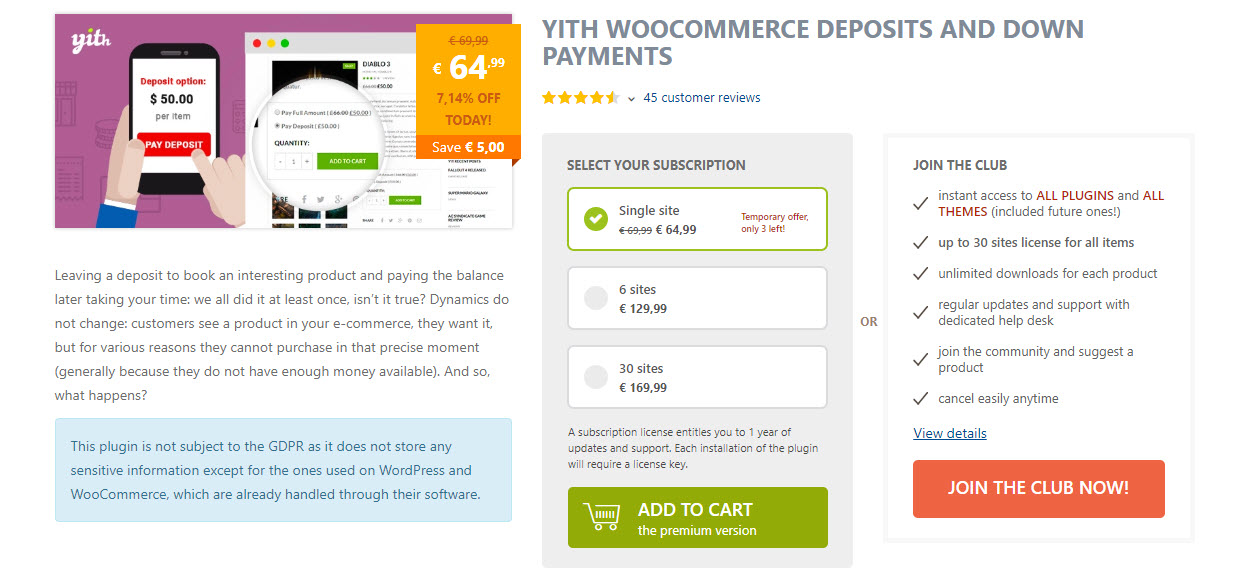 screenshot of YITH WooCommerce Deposits and Down payments plugin