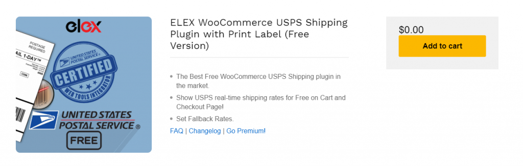 ELEX USPS plugin for free WooCommerce USPS Shipping plugins article.