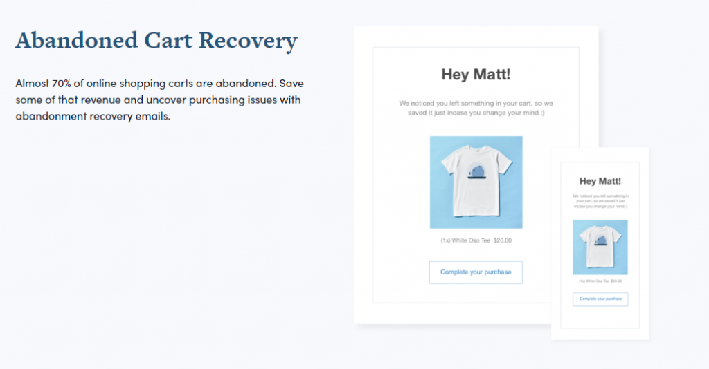 WooCommerce abandoned cart recovery email plugins.