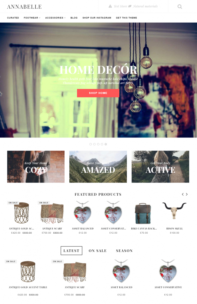 Annabelle/ free Shopify themes