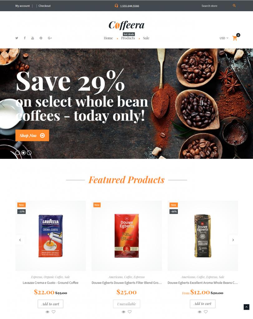 Coffeera / free Shopify themes