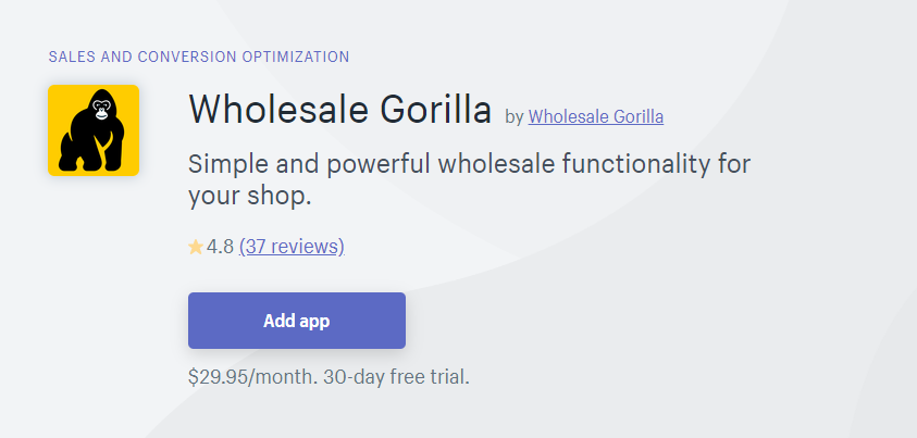 Wholesale Gorilla / wholesale pricing apps
