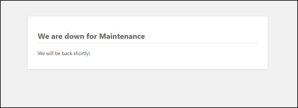 WordPress Maintenance Mode | Maintenance Mode with Code Snippet