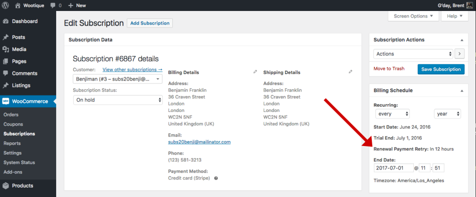 WooCommerce Subscriptions plugin