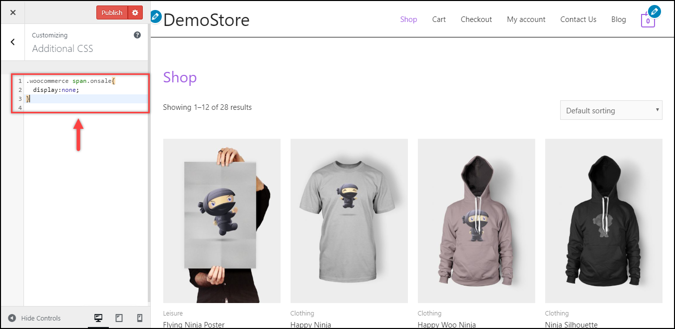 Remove WooCommerce Sale Badge | Additional CSS added
