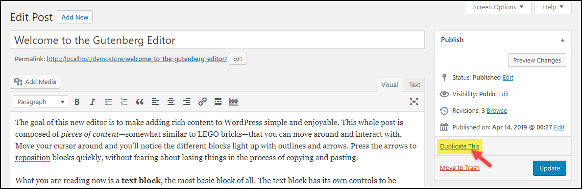 Duplicate a Page in WordPress | Duplicate This! post setting from Duplicate Page plugin