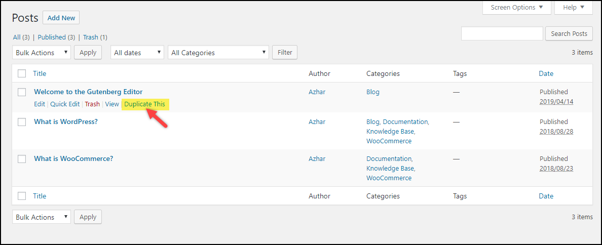 Duplicate a Page in WordPress | Duplicate This! setting from Duplicate Page plugin