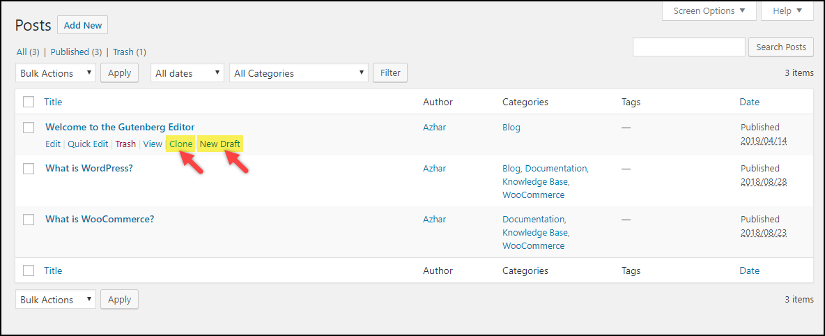 Duplicate a Page in WordPress | Clone and New Draft options from Duplicate Post plugin