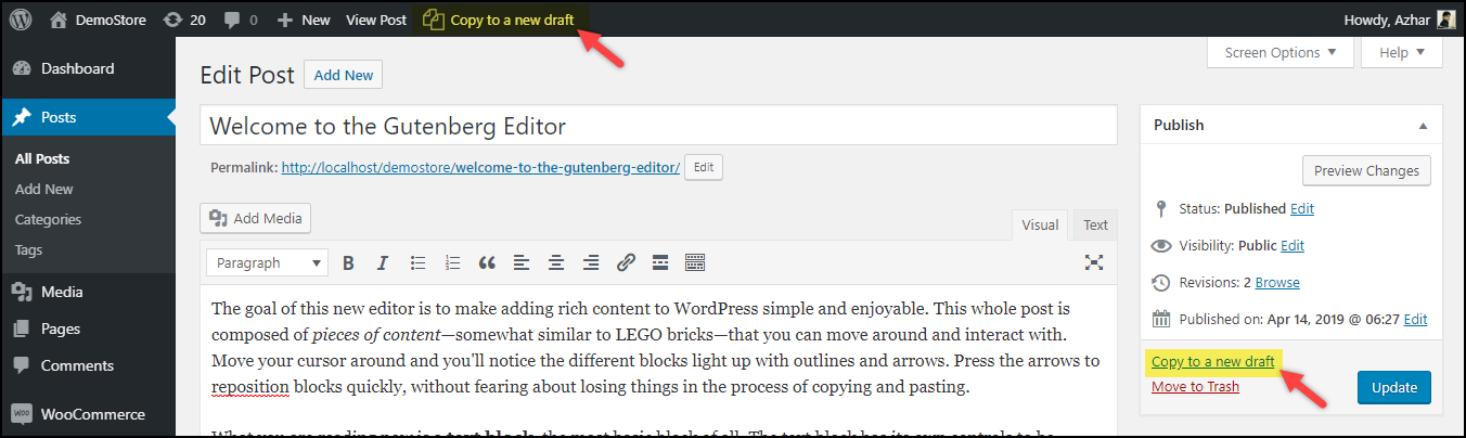 Duplicate a Page in WordPress | Copy to a new draft options from Duplicate Post plugin