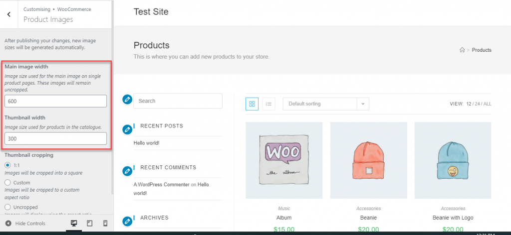 Resize images in WooCommerce