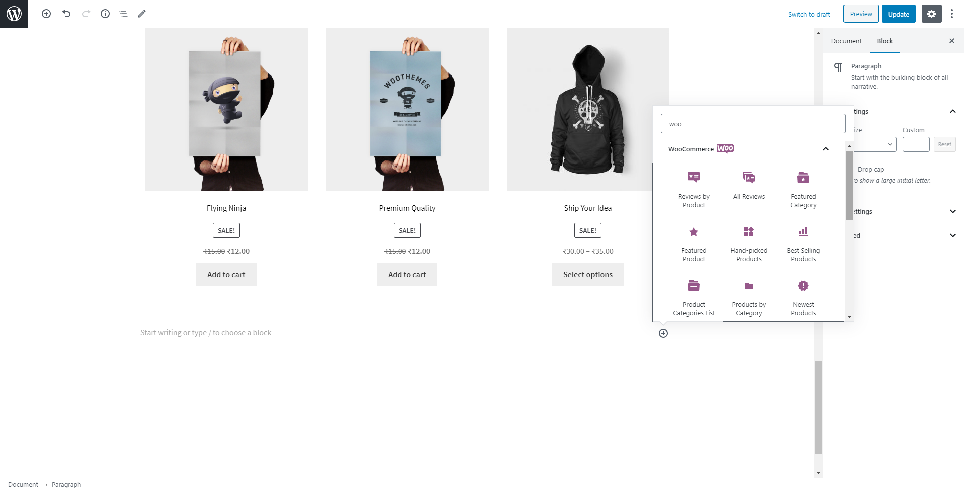 image of a hoodie and poster on a WooCommerce shop page
