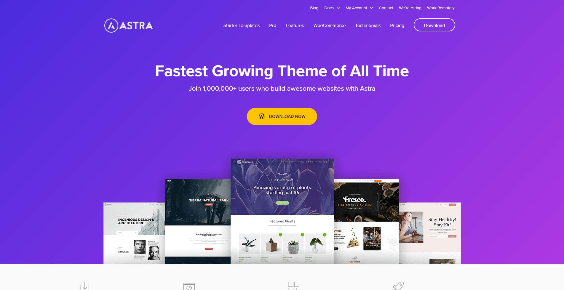 Astra homepage