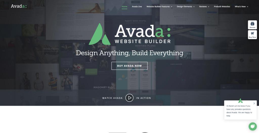 Avada homepage