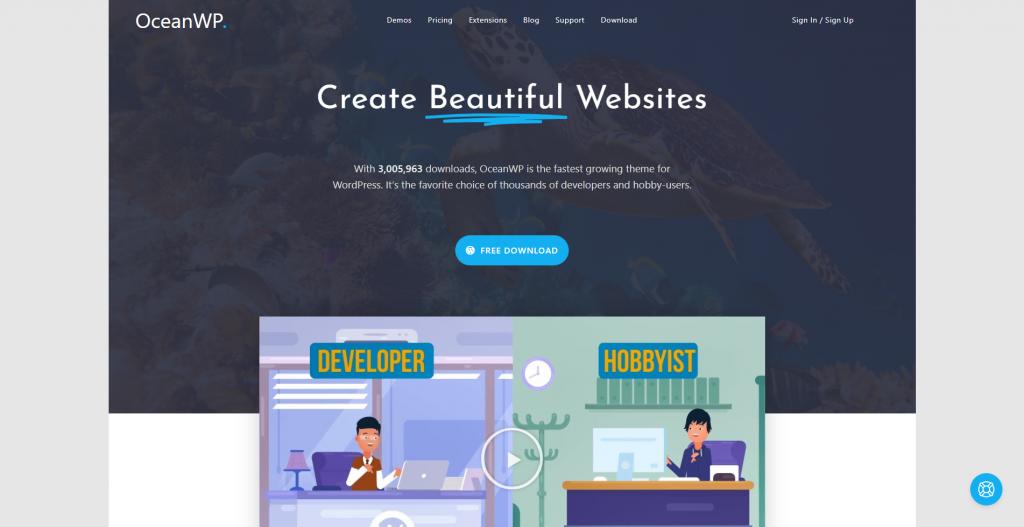 OceanWP homepage
