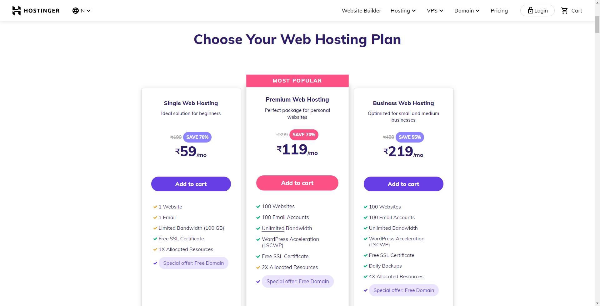 hostinger shared hosting plans